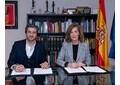 David Afkham y Amaya de Miguel este jueves en el Ministerio de Cultura